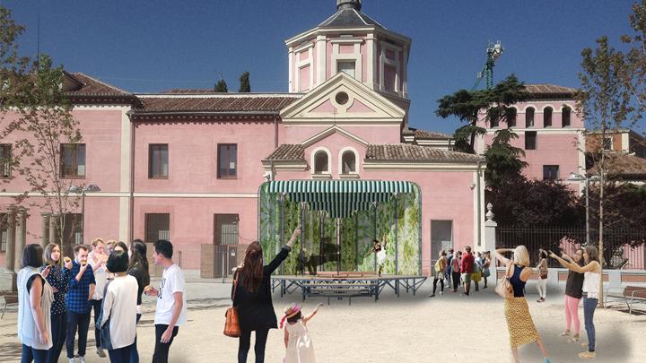 Recreación de instalación efímera para Tándem París-Madrid en los Jardines del Arquitecto Ribera